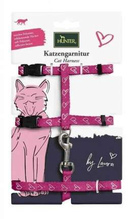 Шлейка для кошек и собак HUNTER by Laura, розовая, шея 22-33см, грудь 22х46см, 120см
