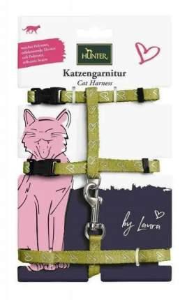 Шлейка для кошек HUNTER by Laura, зеленая, шея 22-33см, грудь 22х46см, 120см