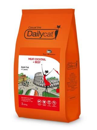 Сухой корм для кошек Dailycat Casual Line, мясной коктейль с говядиной, 3кг