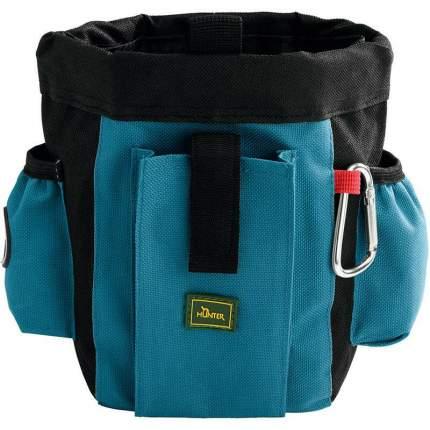 Сумочка для лакомств HUNTER Profi с карманами и клипсы для ремня, темно-синяя, 16х8х20 см