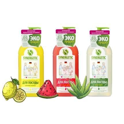 Набор средств для мытья посуды Synergetic Mix (сочный арбуз, алоэ, сочный лимон), 500мл