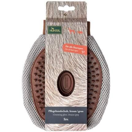 Перчатка для мытья и вычесывания шерсти собак HUNTER, коричневая