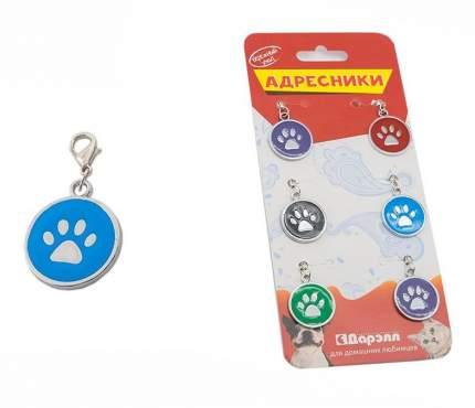 Набор адресников для кошек и собак Дарэлл Лапа, круглые, эмаль, в ассортименте, 25мм, 6шт