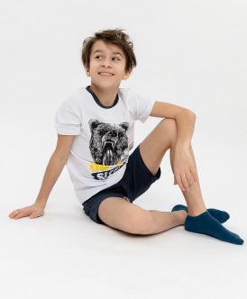 Пижама детская Button Blue, цв. синий; белый р.152