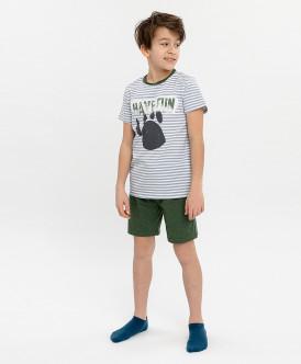 Пижама детская Button Blue, цв. белый; хаки р.104