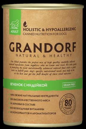Консервы для собак Grandorf Adult, все породы, ягненок и индейка, 400г