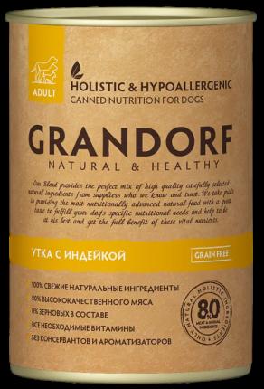 Консервы для собак Grandorf Adult, все породы, утка и индейка, 400г