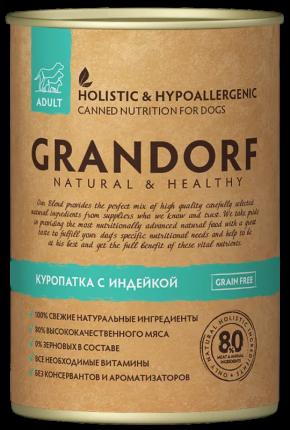 Консервы для собак Grandorf Adult, все породы, куропатка и индейка, 400г