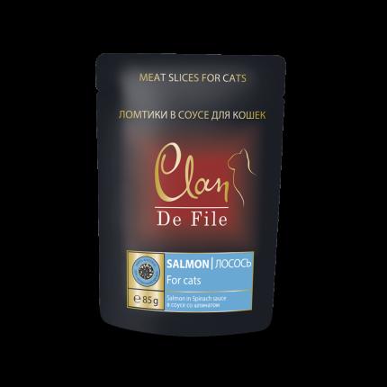 Влажный корм для кошек Clan De File, лосось и шпинат в соусе, 85г