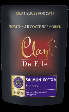 Влажный корм для кошек Clan De File, лосось в йогуртовом соусе, 85г