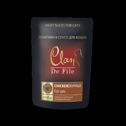 Влажный корм для кошек Clan De File, курица в морковном соусе, 85г