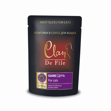Влажный корм для кошек Clan De File, дичь в соусе гриль, 85г