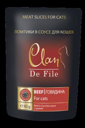 Влажный корм для кошек Clan De File, говядина с цукини в соусе, 85г