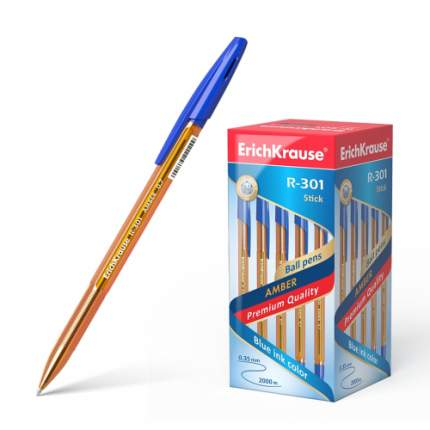 Ручка шариковая ErichKrause R-301 Amber Stick&Grip 0.7, синий 1 шт