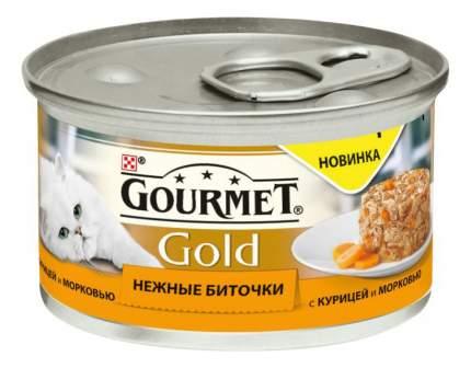 Консервы для кошек Gourmet Gold Нежные биточки, с курицей и морковью, 12шт по 85г