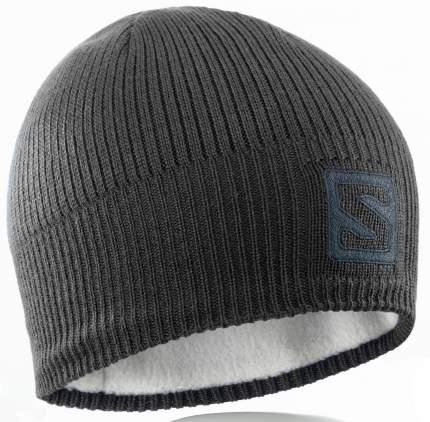 Шапка Salomon Logo Beanie, black/darkcloud