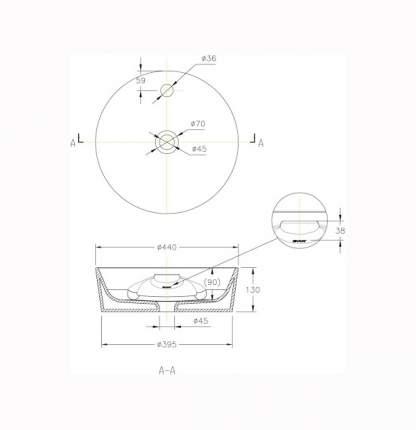 Раковина накладная с отверстием для смесителя Bravat C22239W-1-ENG