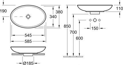 Раковина для установки на столешницу Villeroy & Boch LOOP & FRIENDS 5151 0001