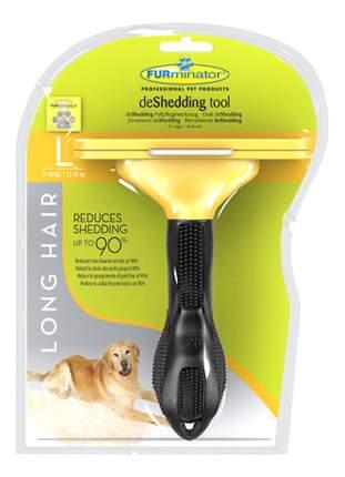 Фурминатор для собак FURminator® Long Hair L, для длинношерстных крупных пород, желтый