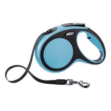 Рулетка-поводок FLEXI New Comfort M до 25кг лента, 5м, черный, синий