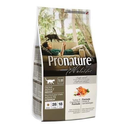 Сухой корм для кошек Pronature Holistic Indoor, для домашних, индейка и клюква, 2,72кг