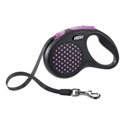 Рулетка-поводок FLEXI Design S до 15кг лента, 5м, черная, розовый