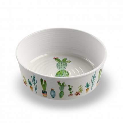 Одинарная миска для собаки TarHong Cactus, меламин, белый, с рисунком 1.89 л