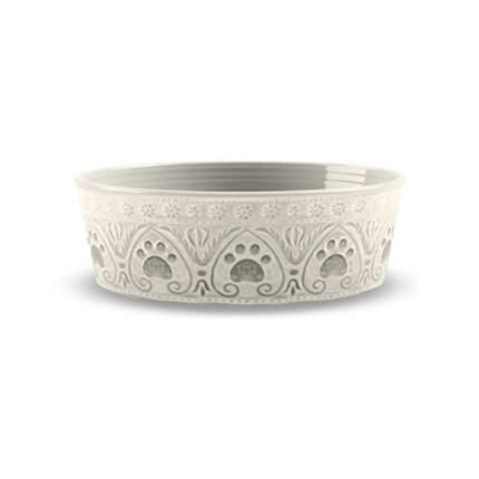 Одинарная миска для собаки TarHong Medallion Paw, меламин, бежевая с лапками, 1.89 л