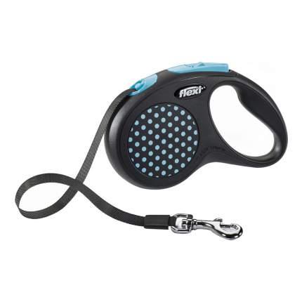 Рулетка-поводок FLEXI Design S до 15кг лента, 5м, черная, голубой