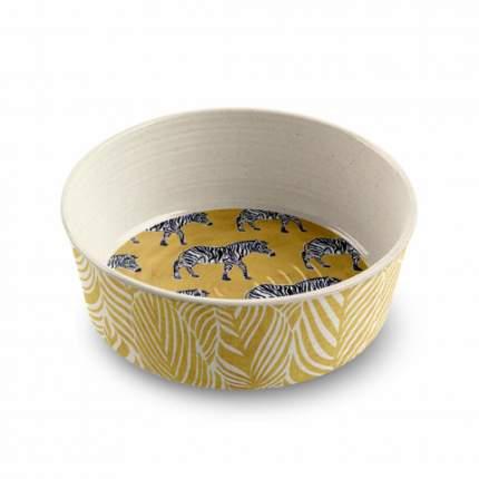 Одинарная миска для собаки TarHong Safari Zebra, меламин, желтый, 0.95 л