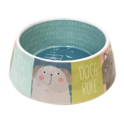 Одинарная миска для собаки TarHong Best Friends, меламин, голубой, 0.59 л