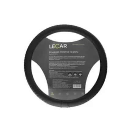 Оплетка на руль LECAR из плетеной кожи, эластичный обод, М (38 см.), цвет чер. LECAR LECAR