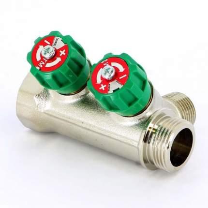"""Коллектор НВ 3/4"""" никелированный с вентилями Uni-Fitt 3 выход"""
