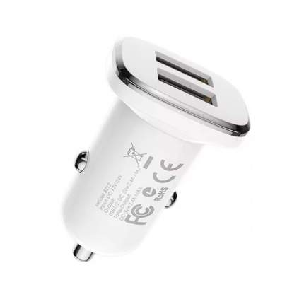 Автомобильный адаптер питания Borofone BZ12 Lasting Power White зарядка 2.4А 2 USB-порта