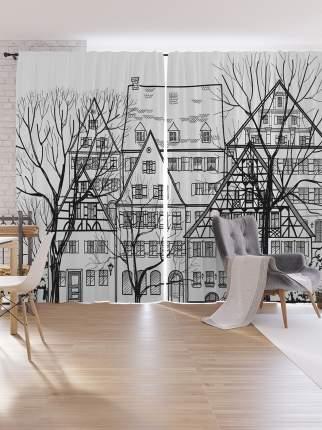 Шторы под лён JoyArty «Европейская Городская Улица», серия Oxford DeLux, 340х265 см