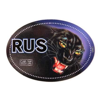 Наклейка RUS Пантера полноцветная овальная наружная 10x14 см. 00479