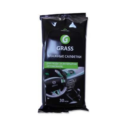 Салфетки влажные для ухода за интерьером автомобиля GRASS (30шт)