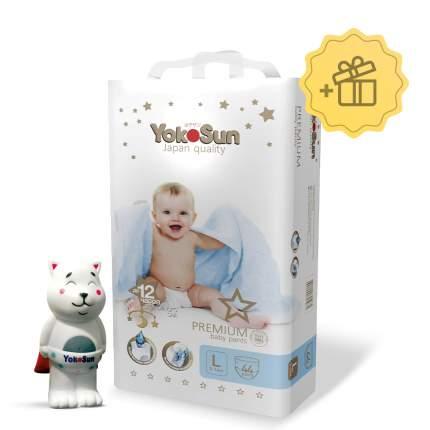 Подгузники-трусики YokoSun Premium L (9-14 кг) 44 шт.+ Игрушка котик Йоко в подарок