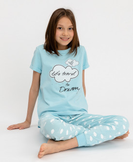 Пижама детская Button Blue, цв. голубой р.116