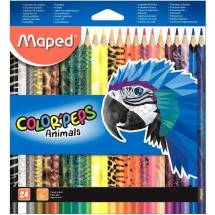"""Карандаши цветные MAPED """"Color Pep's Animals'"""", 24 цвета, трехгранные заточенные"""