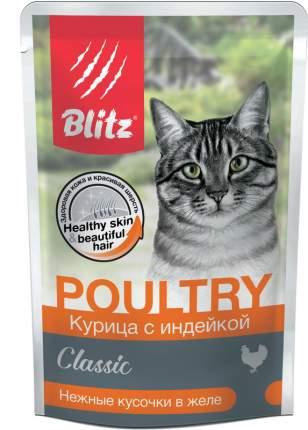 Влажный корм для кошек BLITZ Classic, курица с индейкой, нежные кусочки в желе, 85г
