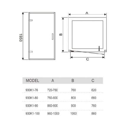 Душевая дверь в нишу Weltwasser WW900 900К1-100