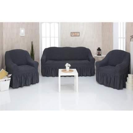 Комплект чехлов на трехместный диван и два кресла с оборкой CONCORDIA, темно-серый