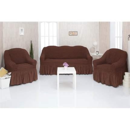 Комплект чехлов на трехместный диван и два кресла с оборкой CONCORDIA, тёмно-коричневый