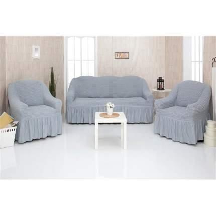 Комплект чехлов на трехместный диван и два кресла с оборкой CONCORDIA, серый