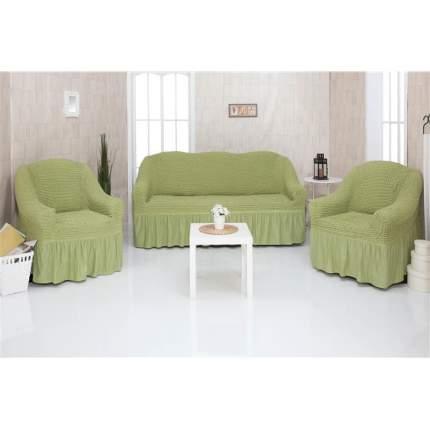 Комплект чехлов на трехместный диван и два кресла с оборкой CONCORDIA, оливковый