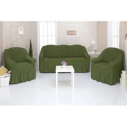 Комплект чехлов на трехместный диван и два кресла с оборкой CONCORDIA, зеленый
