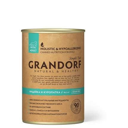 Консервы для собак Grandorf, индейка, куропатка, 400г