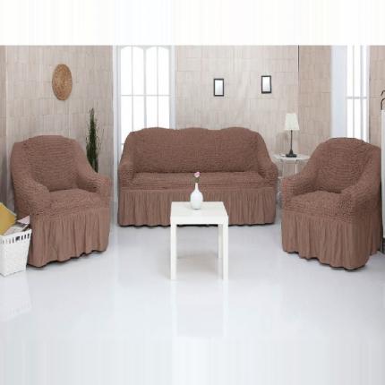 Комплект чехлов на трехместный диван и два кресла с оборкой CONCORDIA, коричневый