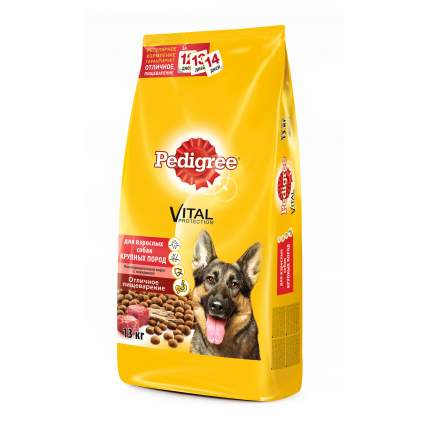 Сухой корм для собак Pedigree Vital Protection для крупных пород, говядина, 13кг